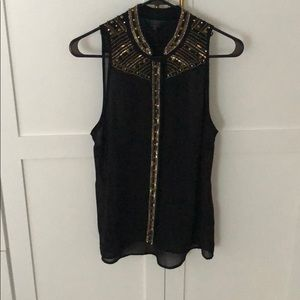 Sequin & bead detail button down blouse